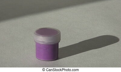 Acrylic gouache purple paint. Homework, the artist works. hd...