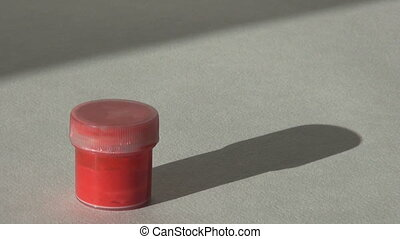 Acrylic gouache red paint. Homework, the artist works. hd...