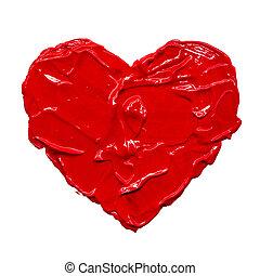 Acrylic heart hand drawn illustration gouache painting.