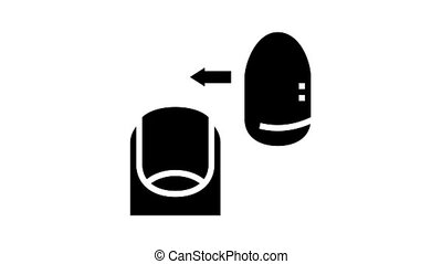 acrylic nail animated glyph icon. acrylic nail sign. isolated on white background