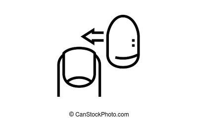 acrylic nail animated black icon. acrylic nail sign. isolated on white background