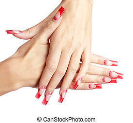 Acrylic nails manicure - Hands with red french acrylic nails...