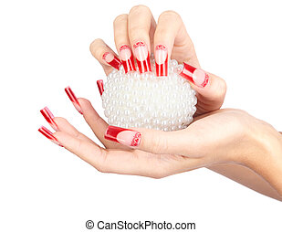 Acrylic nails manicure - Hands with red french false acrylic...