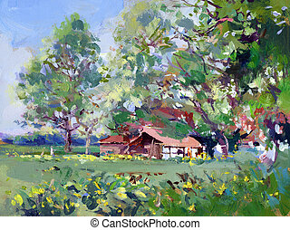 acrylic paint on hard board - rural scene landscape painting...