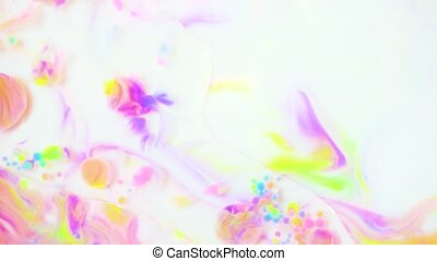 Acrylic paint on white surface top view - Colorful drops and...