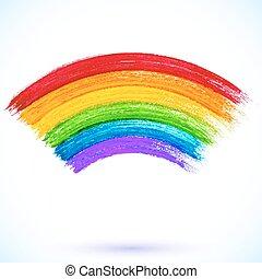 Acrylic painted isolated vector rainbow