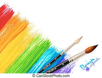 Acrylic painted rainbow background with brushes