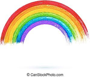 Acrylic painted rainbow, vector illustration