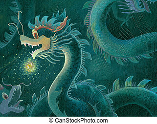 acrylic painting of a Chinese dragon with the shine dragon ball light