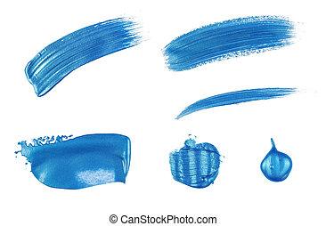 acrylic schilderen uit, op, een, witte achtergrond, -, blauwe , metalen