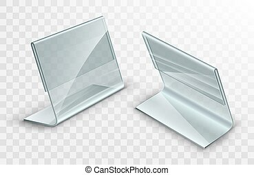Acrylic table displays set, glass or plastic card holders ...