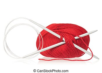 Acrylic threads with spokes for knitting isolated on white...