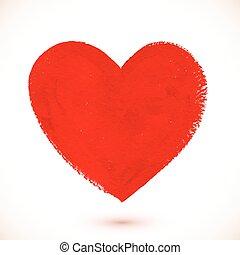 acrylique, coeur, peint, rouges, couleur, textured