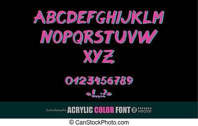 acrylique, manuscrit, police, symbols., nombres