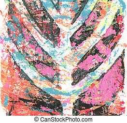 acrylique, template., aquarelle, texture, monoprinting, résumé, toile, painting., couleur, arrière-plan.