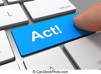 act button concept 3d illustration