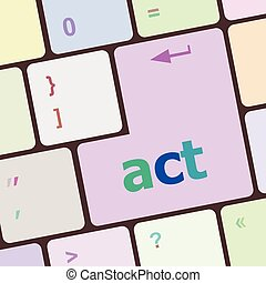 Act button on keyboard with soft focus vector illustration