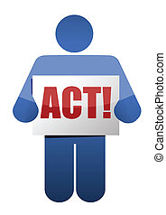 act holding a bonus sign illustration design