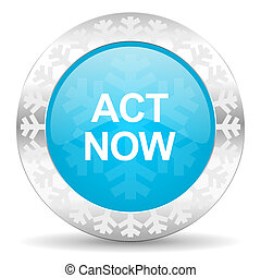 act now icon, christmas button