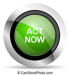 act now icon, green button