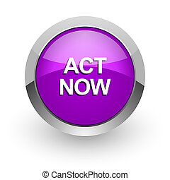act now pink glossy web icon