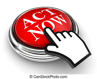 act now red button and cursor hand on white background. clipping paths included