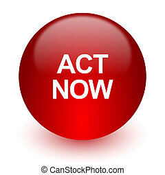act now red computer icon on white background