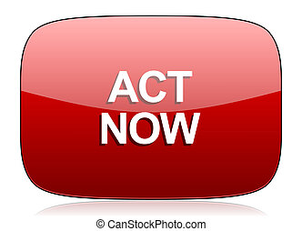 act now red glossy web icon