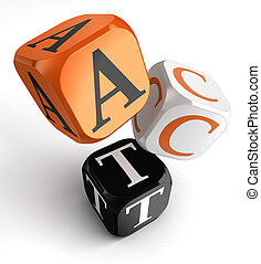 act word on orange black dice blocks