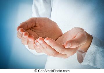 acte, réception, mains