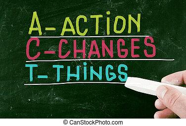 actie, concept