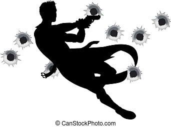 actie, held, silhouette, vuurwapen vechten