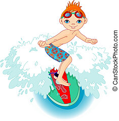 actie, jongen, surfer
