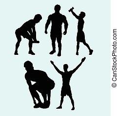 actie, mannelijke , silhouette, vrouwlijk, sportende