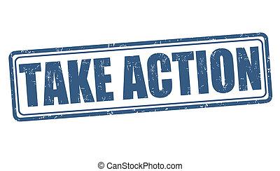 actie, postzegel, nemen