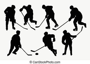 actie, silhouettes, sportende, hockey, ijs