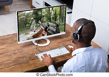 actie, spel, computer, spelend, man