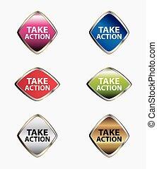 actie, vector, nemen