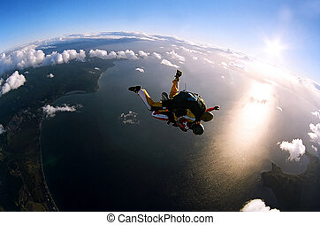 actie, verticaal, skydivers, twee