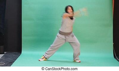 actie, vrouw, jonge, dancing
