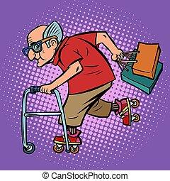 actief, bejaarde, shoppen , sporten