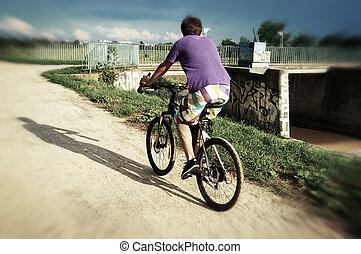 actief, bicyclist, paardrijden