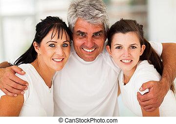 actief, closeup, gezin