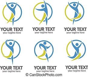 actief, logo, concept, mensen
