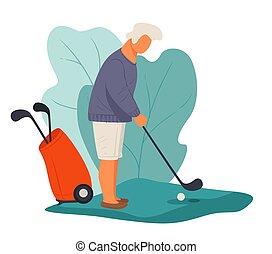 actief, man, gepensioneerde, bal, senior, golf, spelend, het...