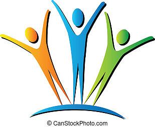 actief, mensen, logo