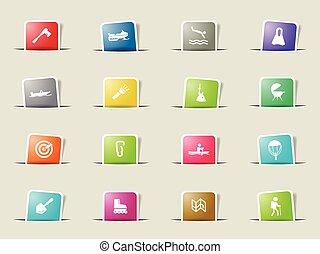 actief, ontspanning, set, pictogram