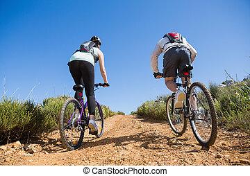 actief, paar, cycling, bergopwaarts, op een fiets, rijden,...