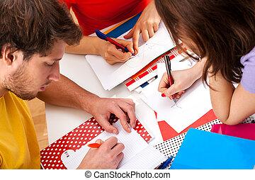 actief, scholieren, doen, een, plan, samen