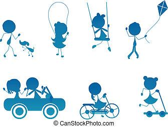 actief, silhouette, kinderen, stok, spotprent